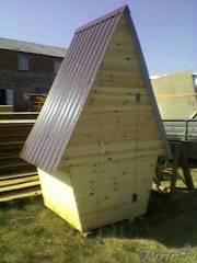 Дачный туалет 1х1х2м деревянный. Забор из штакетника  секции.